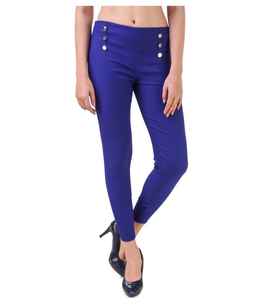 BLUSHH Cotton Lycra Jeggings - Blue
