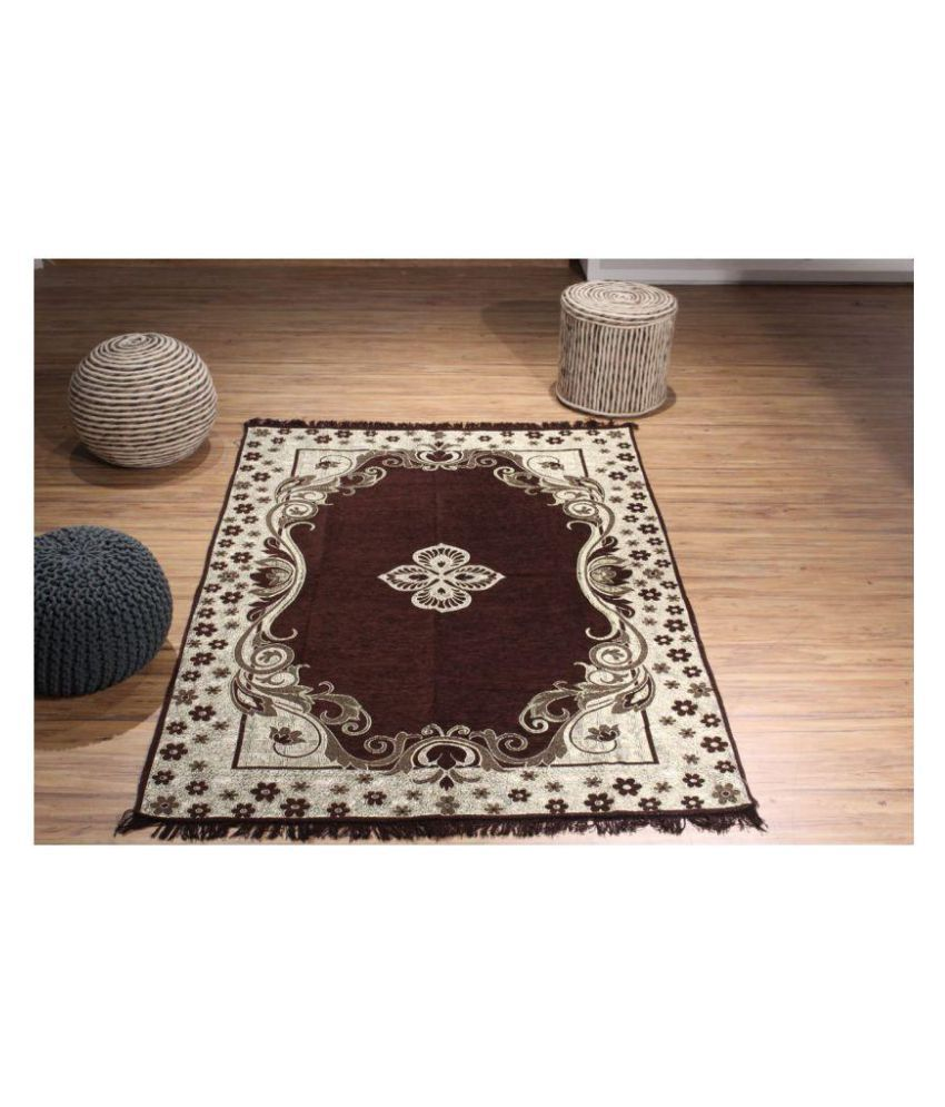 Kaizen Decor Brown Chenille Carpet Contemporary 5x7 Ft