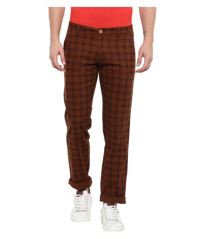 Urbano Fashion Brown Slim -Fit Flat Trousers