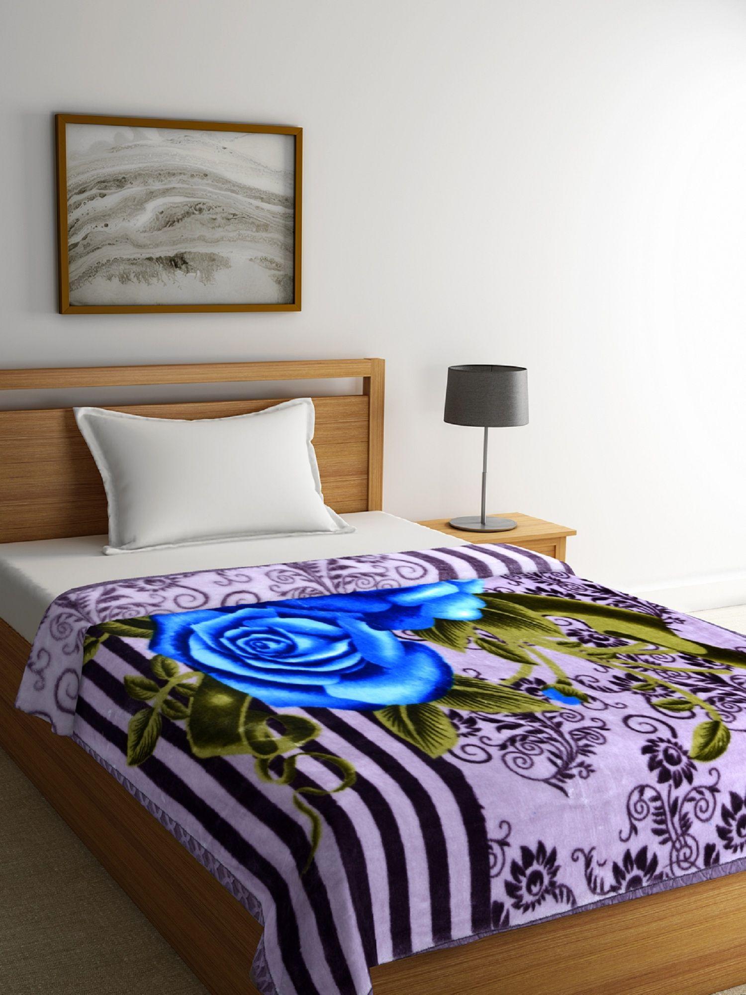 Romee Single Poly Mink Floral Blanket