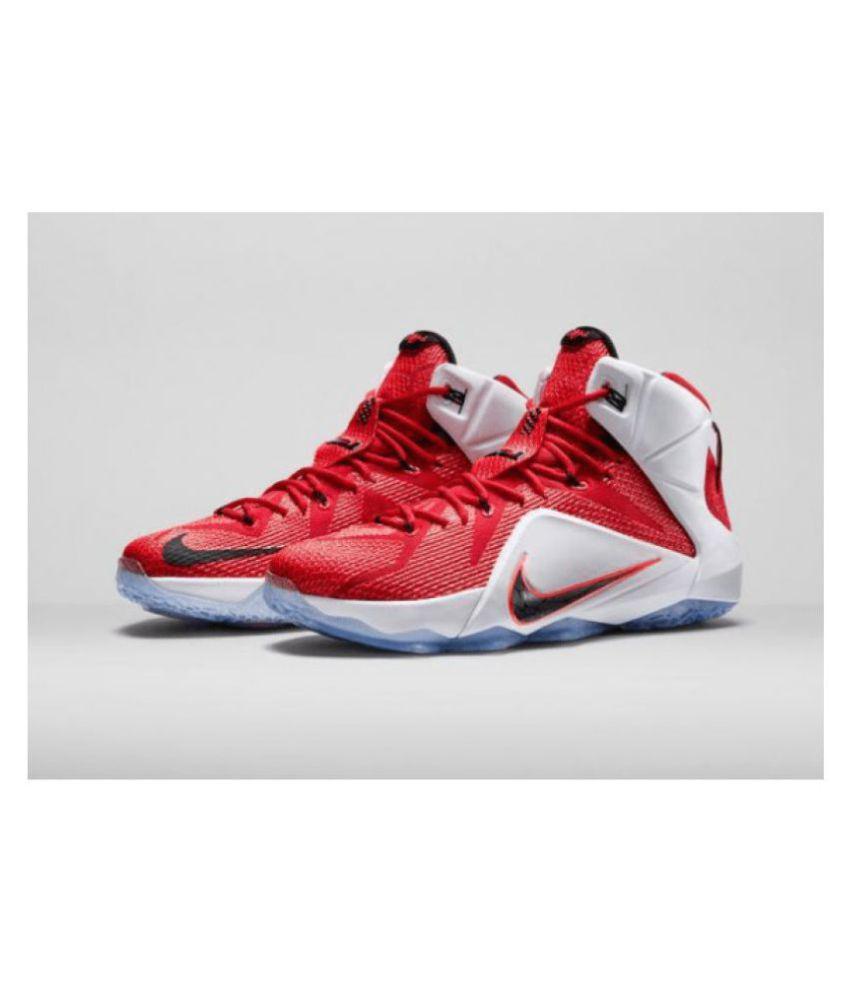 watch a0068 aa7fb Nike LEBRON 12 Red Basketball Shoes