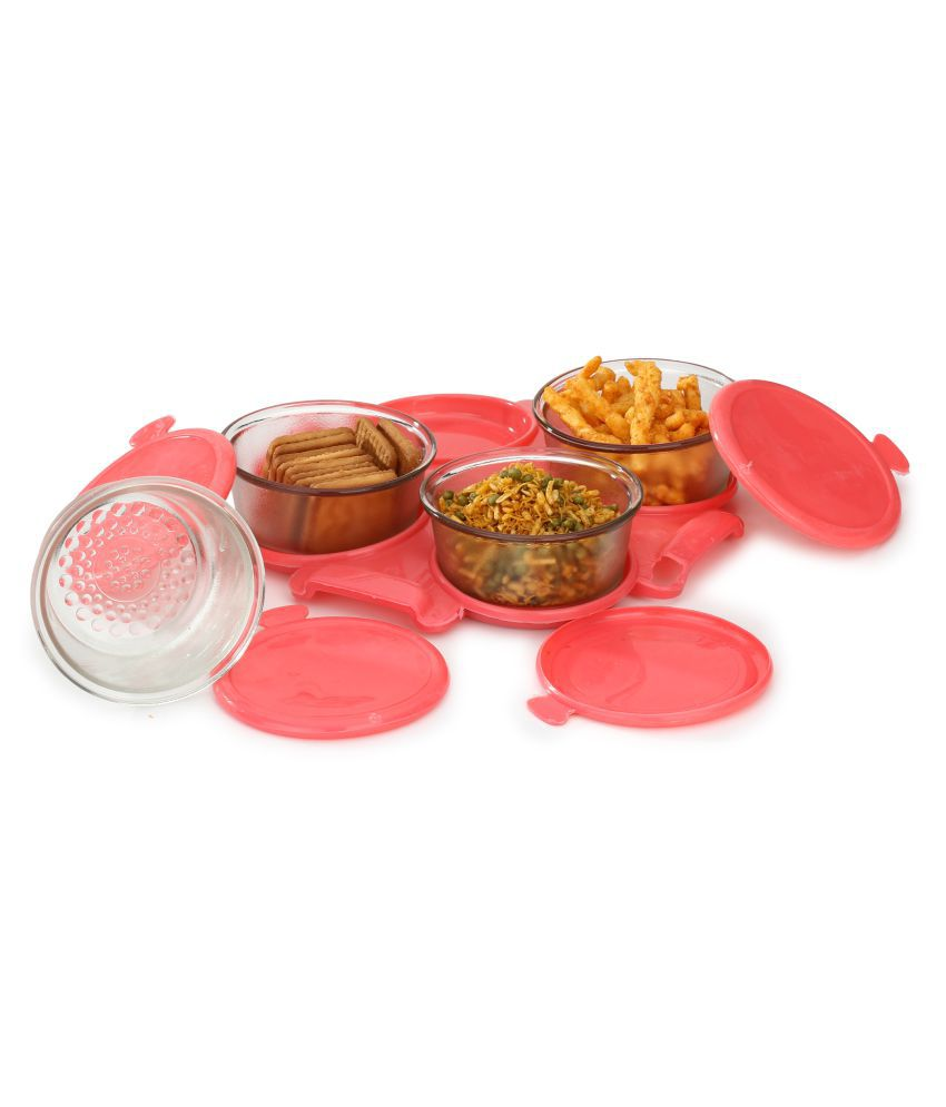 AFAST Transparent container Set With Serving Tray Glass Food Container Set of 4