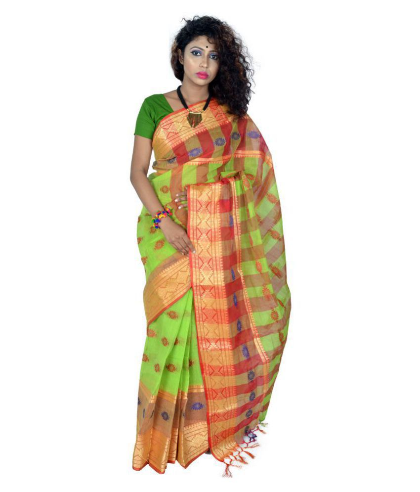 Le Soft Green and Beige Bengal Handloom Saree
