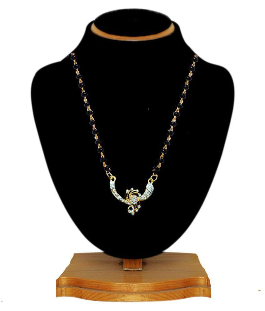 JSD Gold Plated American Diamond Mangalsutra Fancy Designer For Girl & Women