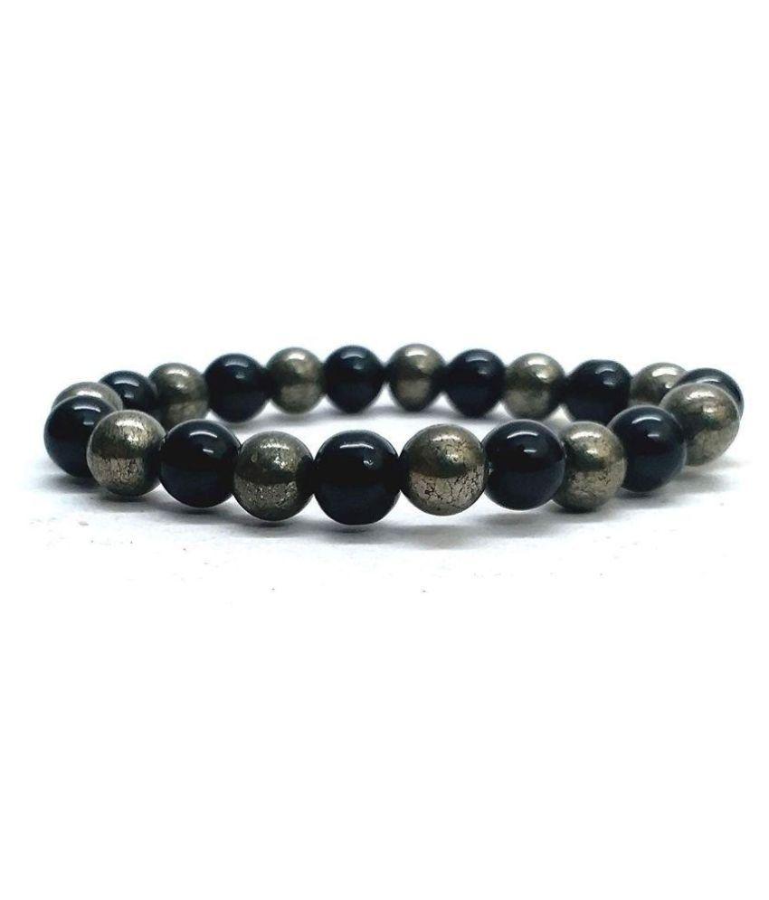 Pyrite and Black Onyx Crystal Stretch Bracelet