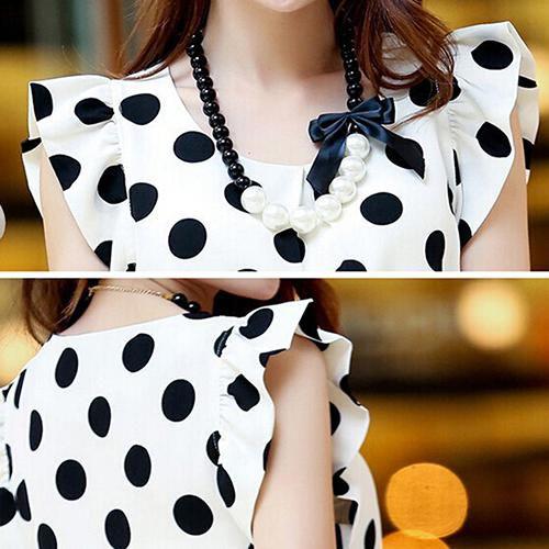 Fashion Women Casual Chiffon Polka Dot Blouse Short Sleeve T-shirt Summer Tops