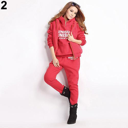 Winter Sports Suit Women Sweatshirts+Waistcoat+Pants Tracksuit Hoodie 3pcs Set