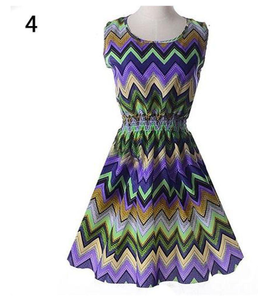 Women Summer Bohemian Floral Sleeveless Vest Printed Beach Chiffon Party Dress