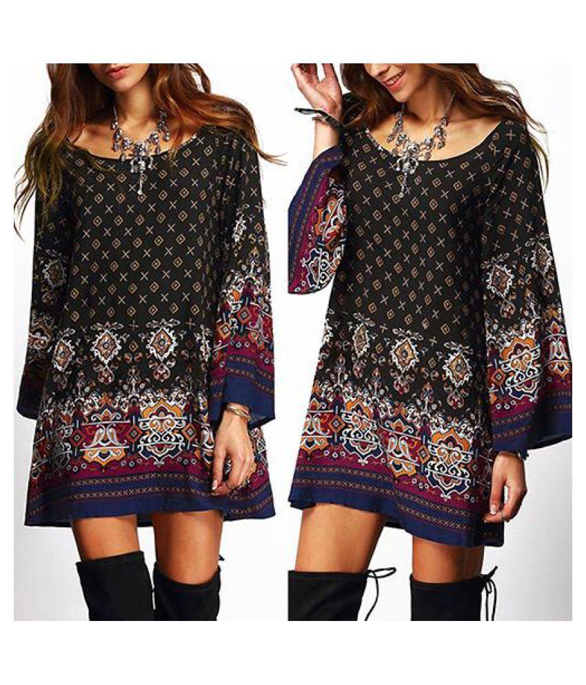 Women's Retro Boho Print Loose Round Neck Long Sleeve Long T-Shirt Short Dress