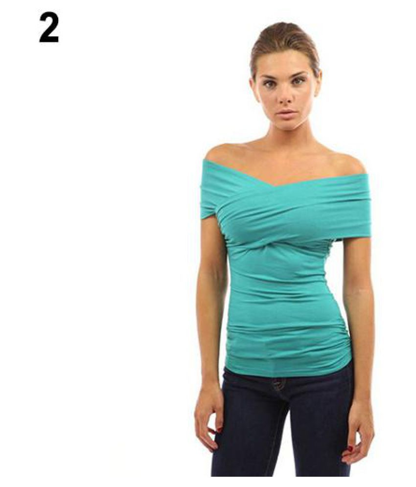 612ec6fdb59 Buy Women's Summer Fashion Sexy Off Shoulder Slim Fit Solid Color T-Shirt  Tee Top Online at Best Prices in India - Snapdeal