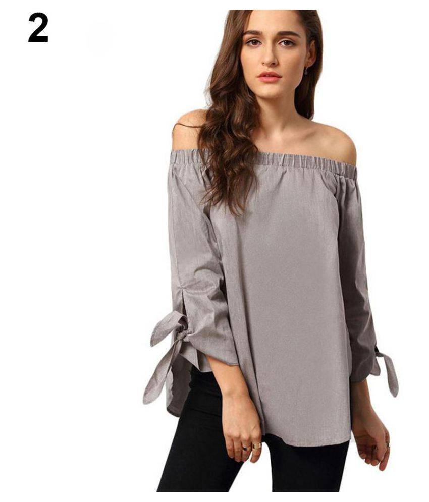 b6c5e9650e96 Buy Women Summer Off Shoulder Long Sleeve Bowknot Cuff T-shirt Loose Blouse  Online at Best Prices in India - Snapdeal