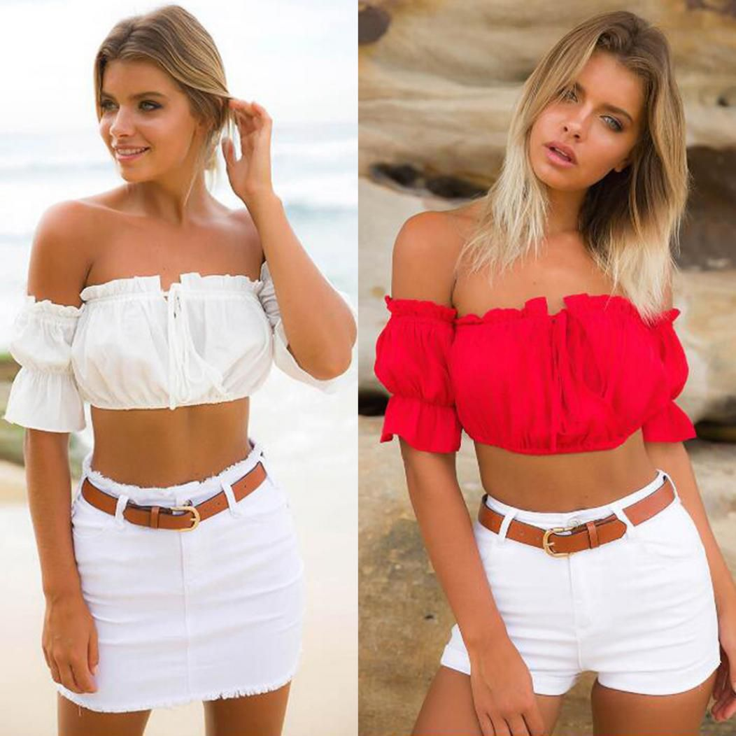 a77233b302 ... Women s Sexy Ruffled Trim Off Shoulder Summer Party Club Tube Crop Top  Blouse ...