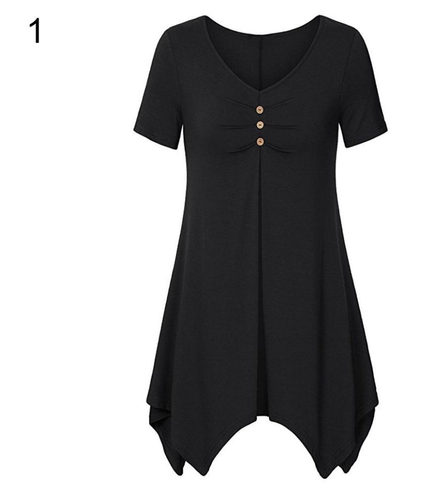 51ef25bea68f2 ... Fashion Lady Plus Size Short Sleeve Irregular Hem Loose Long Ruffled T- shirt Top ...
