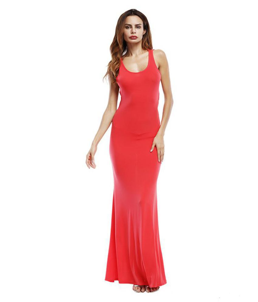 Fashion Sleeveless Backless Sexy Solid Color Hollow Harness Women Summer Dress