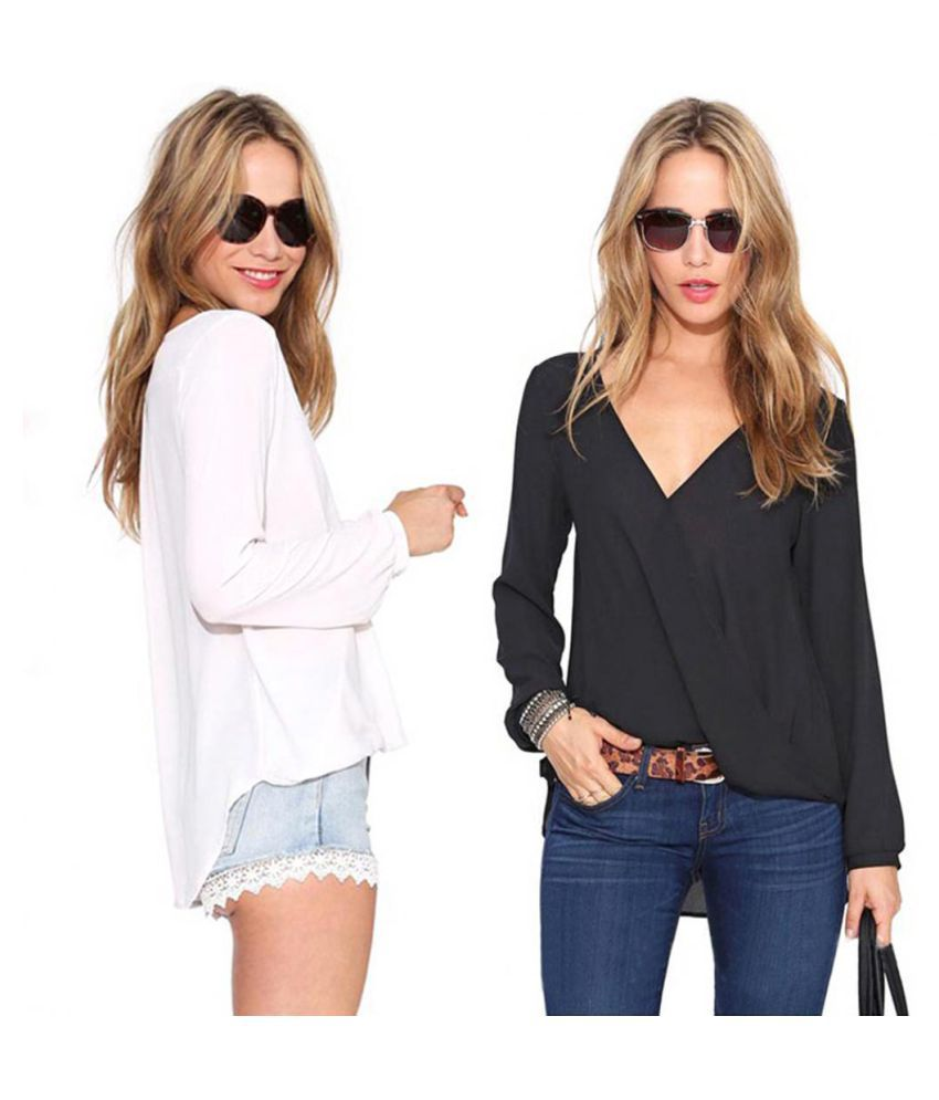 9db5fad8af1486 ... Fashion Summer Sexy Deep V-Neck Causal Blouse Chiffon Long Sleeve Women  Top ...