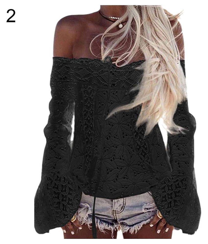 48c9ca2f7e203 Buy Women Summer Sexy Off Shoulder Lace Tassel Long Sleeve Top T-Shirt  Solid Color Online at Best Prices in India - Snapdeal