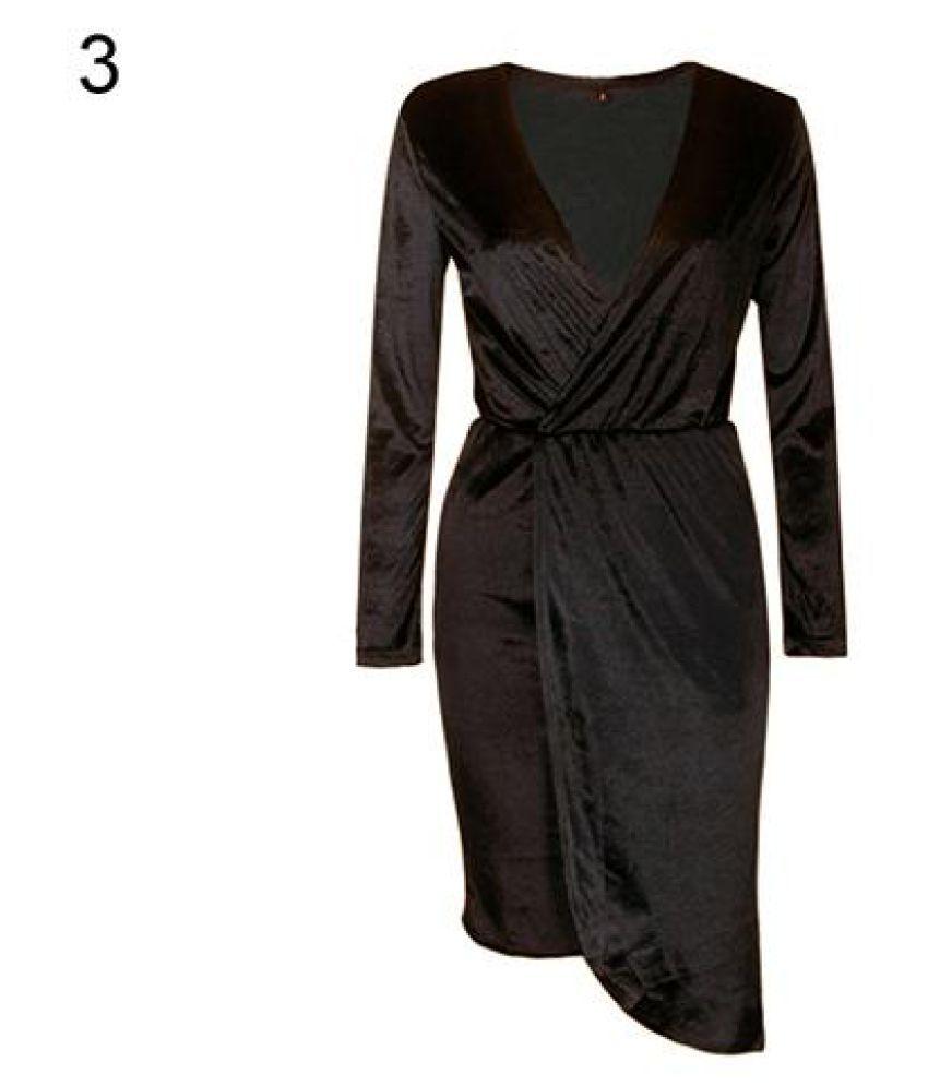 Women's Autumn Sexy Solid Color Basic Bodycon Velvet Dress Fashion Clubwear