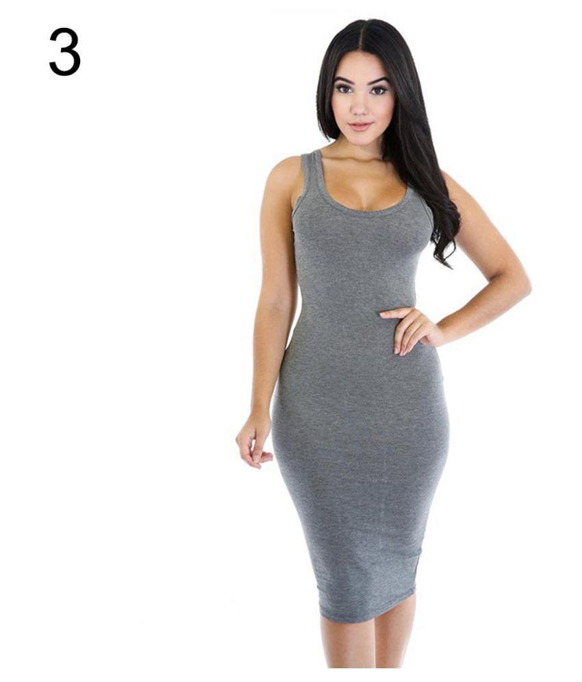 Women's Fashion Solid Sleeveless Stretch Sexy Summer Basic Bodycon Tank Dress