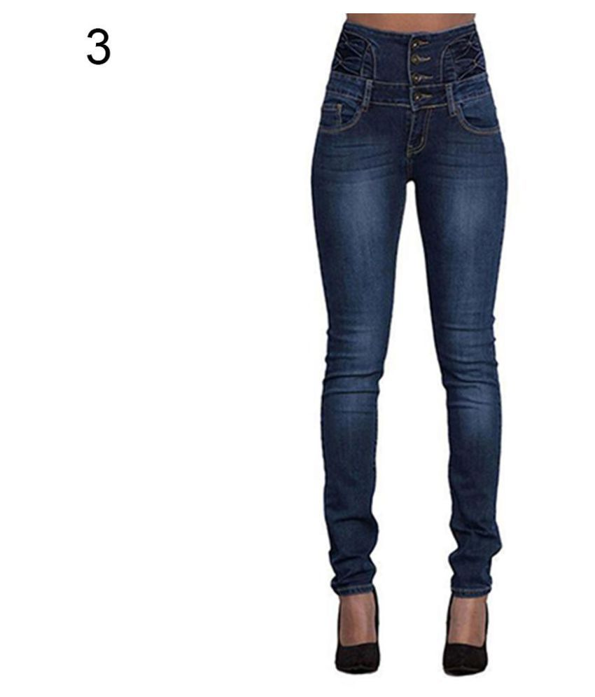 Women Fashion High Waist Slim Skinny Jeans Stretch Pencil Pants Denim Trousers