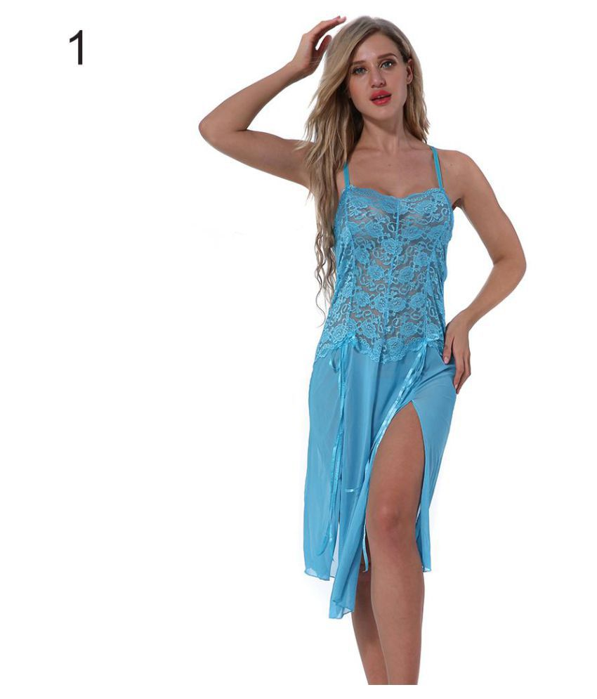 Buy Women s Sexy Sheer Lace Long Sling Mesh Dress G-String Babydoll  Nightwear Set Online at Best Prices in India - Snapdeal ddecb5fab