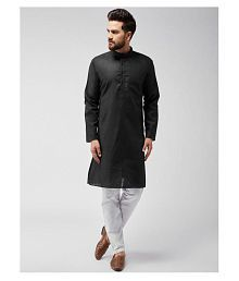 STARLIFESTYLE Black Cotton Kurta Pyjama Set