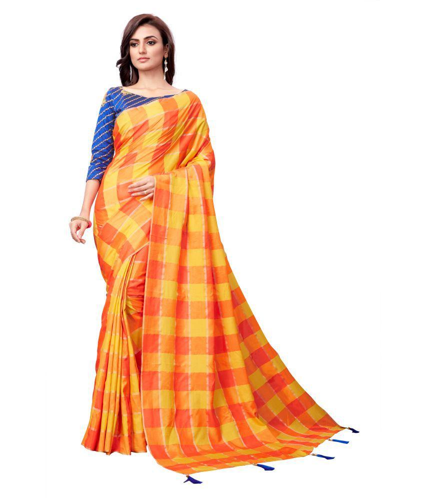 Fashion Basket Orange Silk Saree