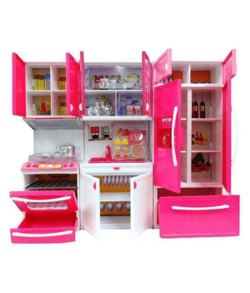 crazy toys Kids Kitchen Play Set with Light & Sound Cooking Kitchen Set  Play Toy (3 fold)