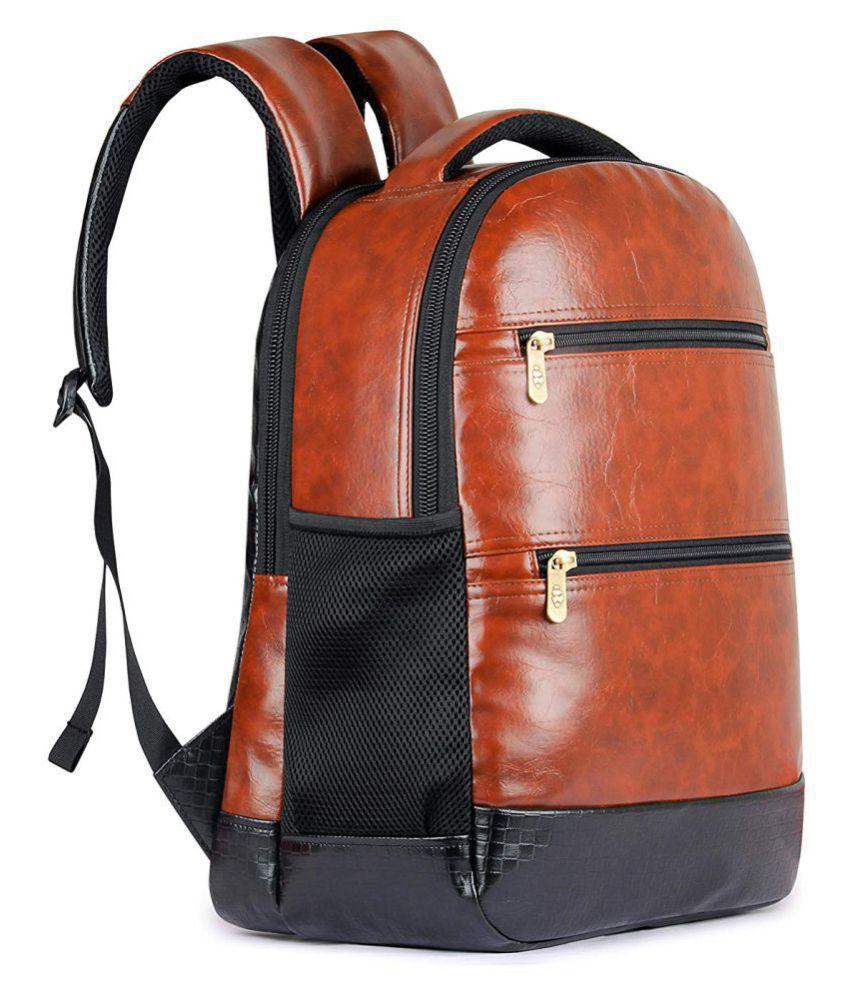 The Clownfish Brown Jovial Backpack Leather Bag Men Gents Bag Carry Bag Men