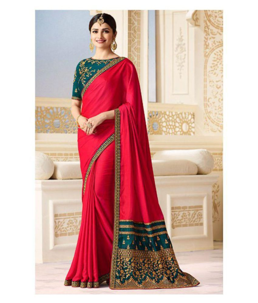 8a3d73fe77a Viviki Fashion Red Bangalore Silk Saree - Buy Viviki Fashion Red Bangalore  Silk Saree Online at Low Price - Snapdeal.com