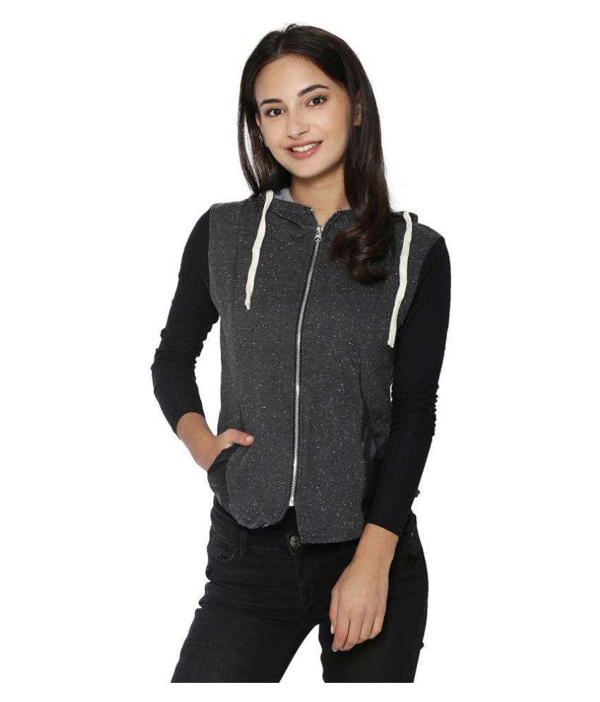 Campus Sutra Polyester Grey Quiltted Jackets