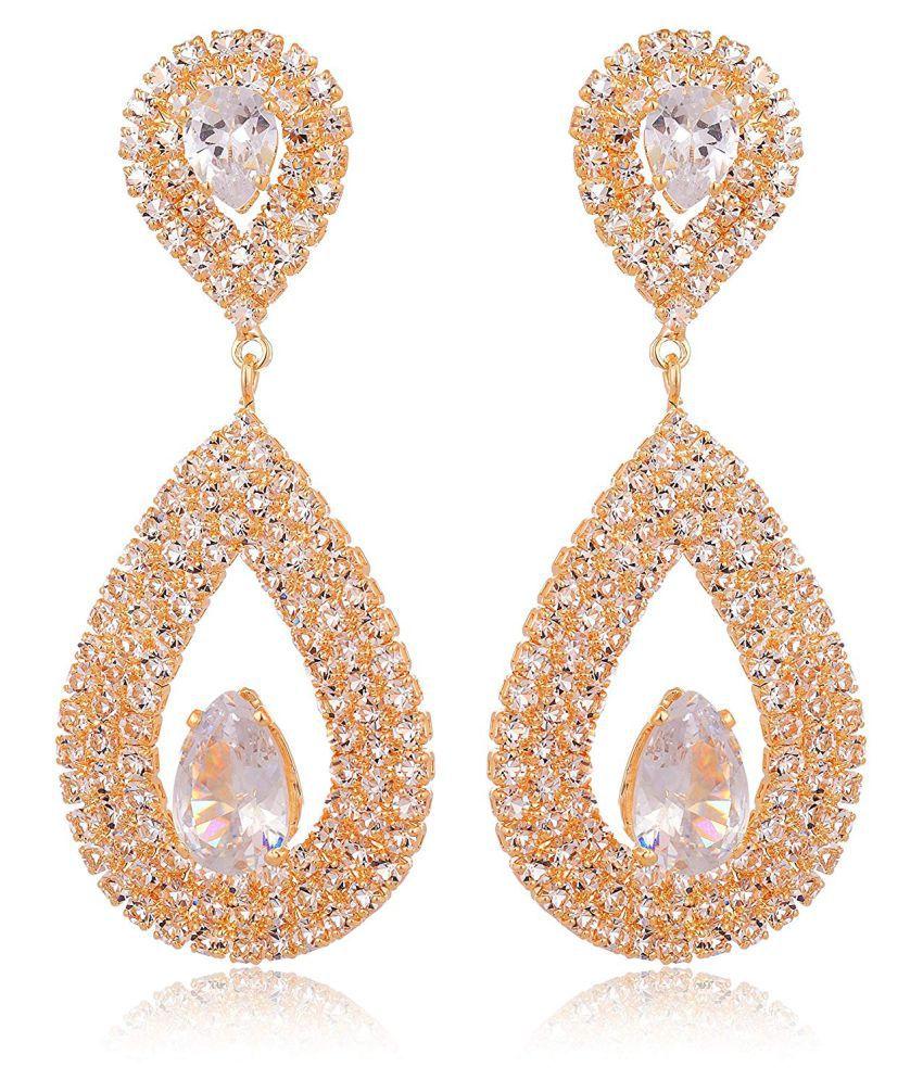 Fab Jewel Stylish Gold Crystal Fancy Party Wear Earring (FJ-444)