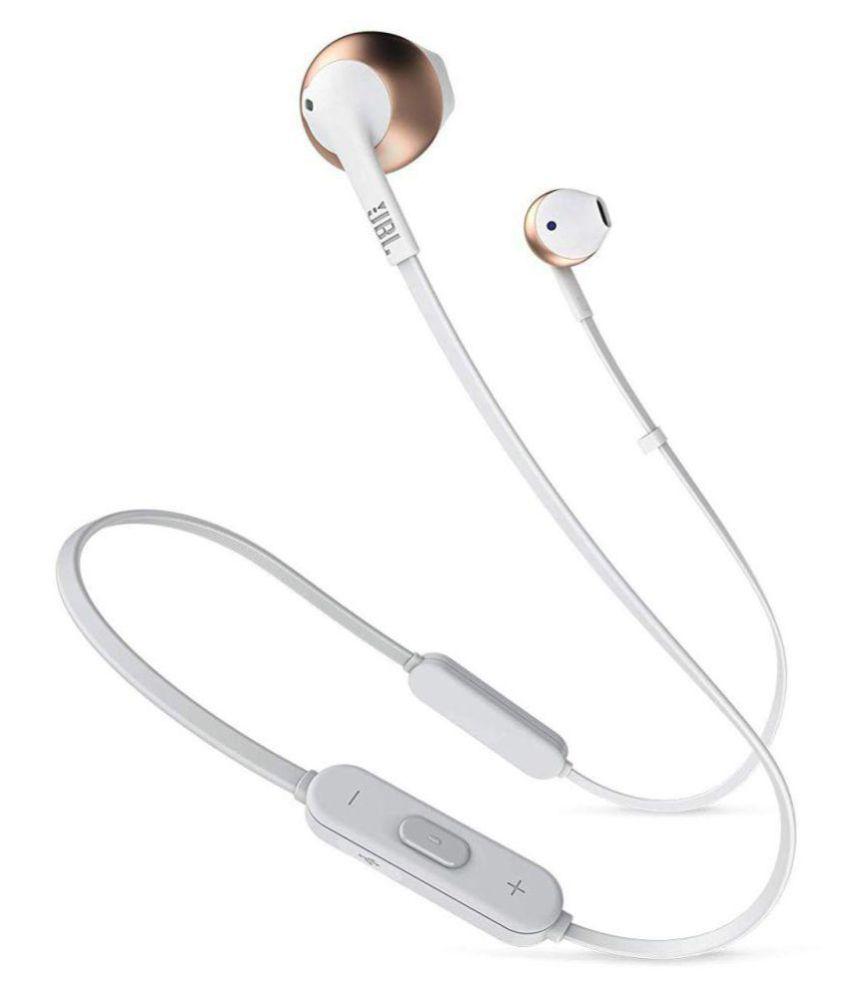 JBL T205BT Neckband Handsfree Wireless Earphones Bluetooth Headphone With Mic  Rose Gold