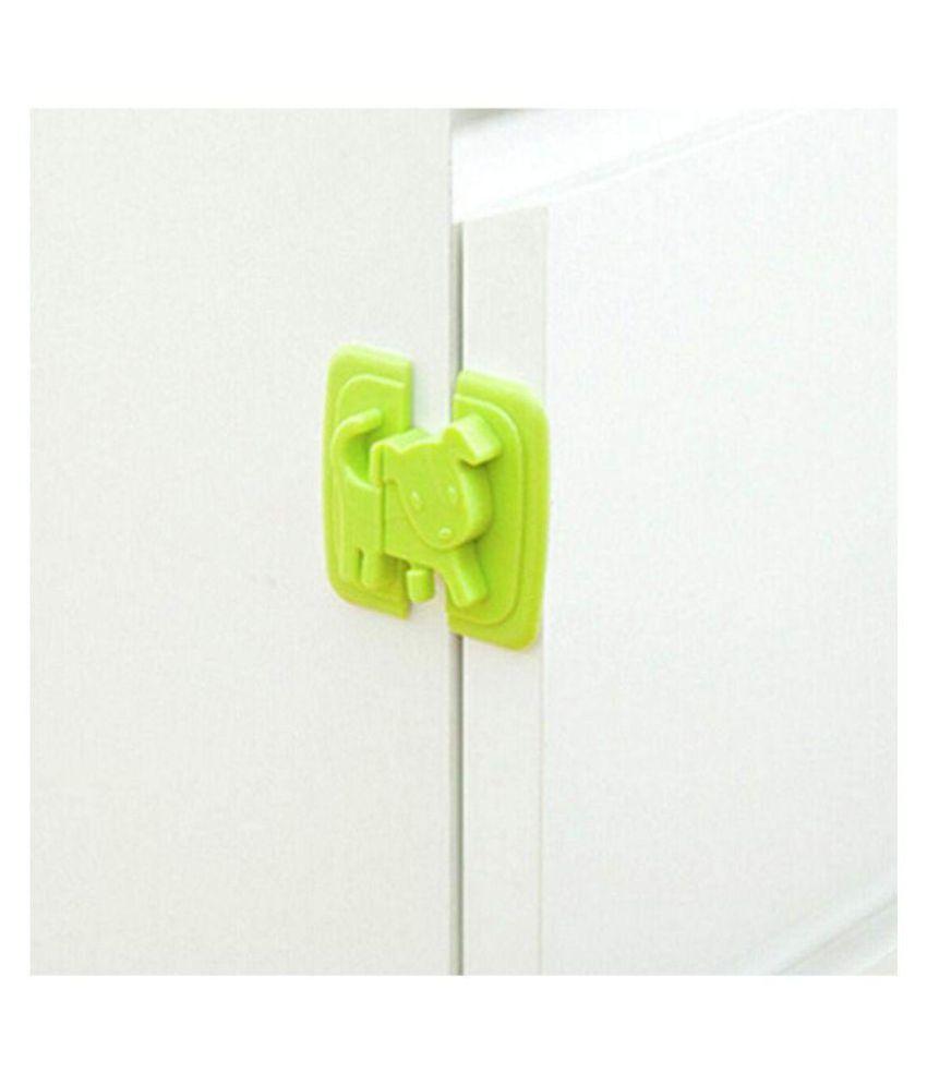 KolorFish Cartoon Dog Shape Protection Lock Cabinet Door Drawers Refrigerator Toilet Baby Safety Plastic Lock (Set of 2) (Green)