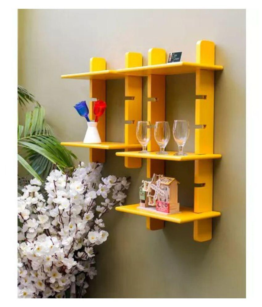 Onlineshoppee Floating Shelves Yellow MDF - Pack of 2