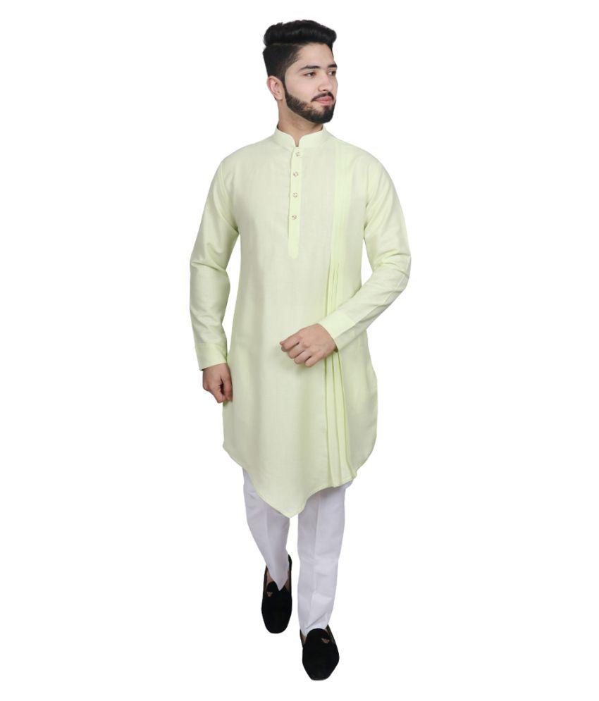 SG LEMAN Green Cotton Kurta Pyjama Set Pack of 2
