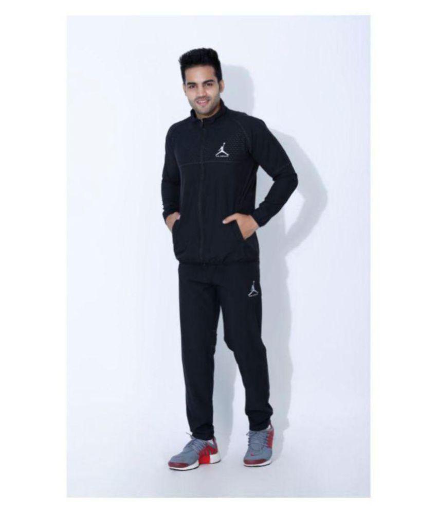 Nike Air Jordan Black Polyester Lycra Tracksuits