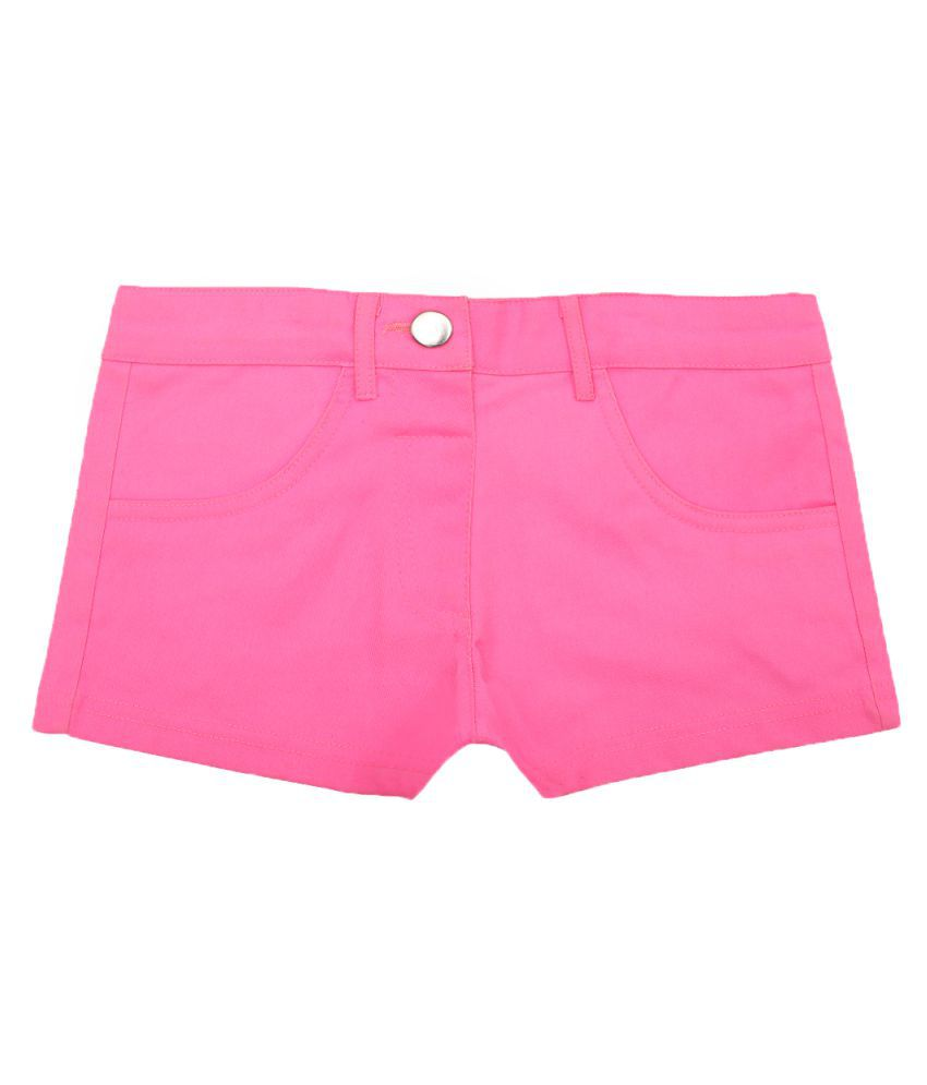 Lil Orchids Solid Cotton Hot Shorts for Girls