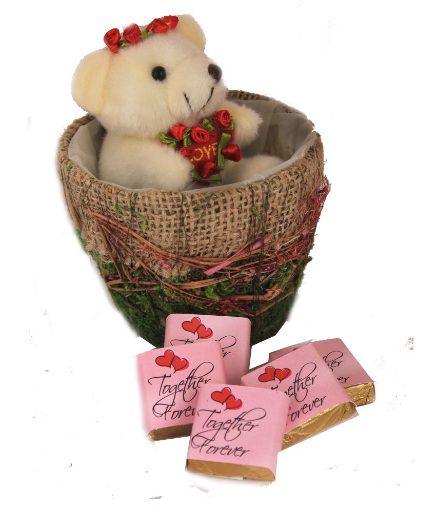 Zoroy Luxury Chocolate Chocolates Teddy in a Basket Chocolate Basket Together Forever Dark 250 gm