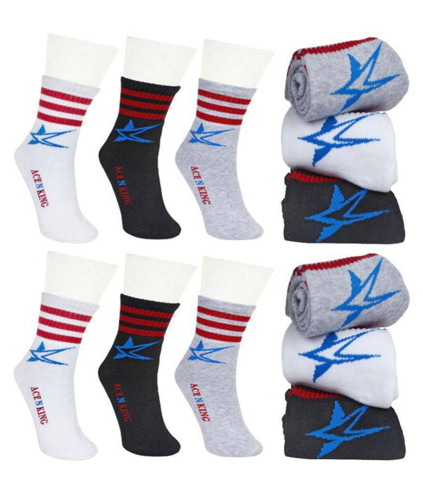 Ace N King Multicolor Cotton/Lycra Ankle Length Socks - 12Pairs