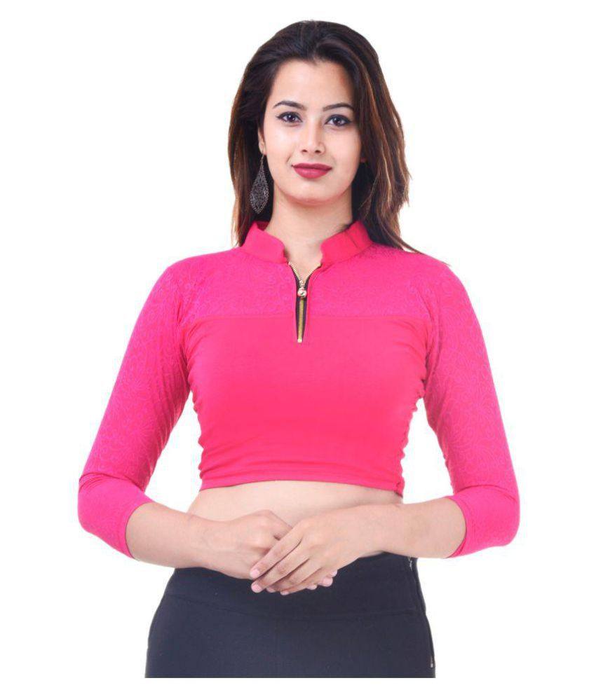 Amazing Pink Lycra Readymade without Pad Blouse