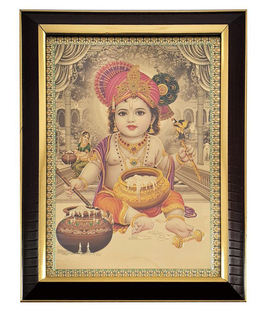 Gallery99 Makhan Chor Kanha Golden Plated Digitally Reprinted : 10