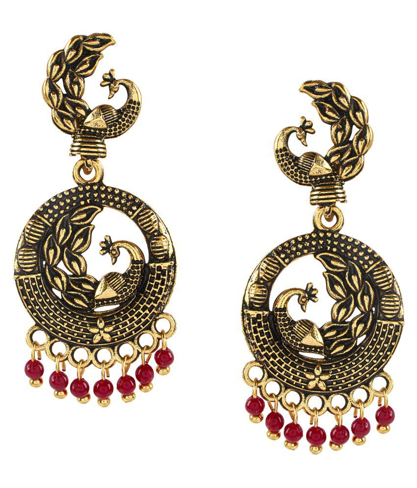 Shining Jewel Antique Gold Plated Peacock Chandbali Earrings With