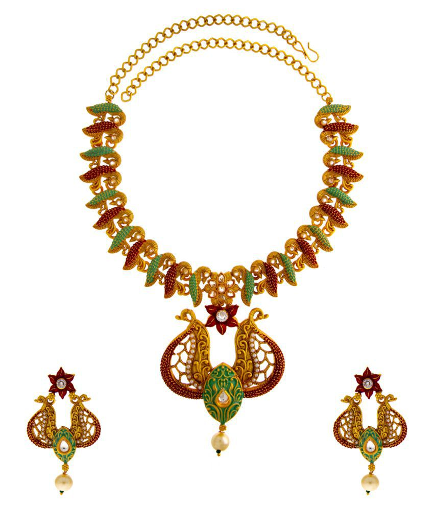Anuradha Art Jewellery Alloy Golden Other Traditional None Necklaces Set