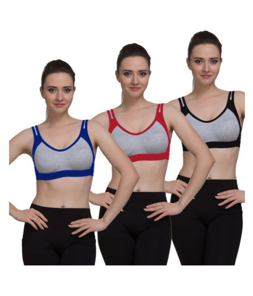 FRESH LOOK LINGERIE Cotton Sports Bras - Multi Color