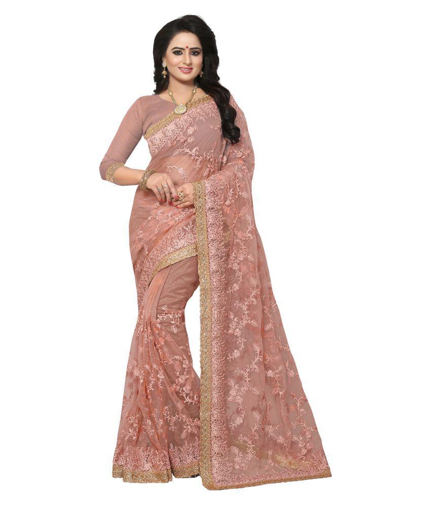 KAD Creations Pink Net Saree