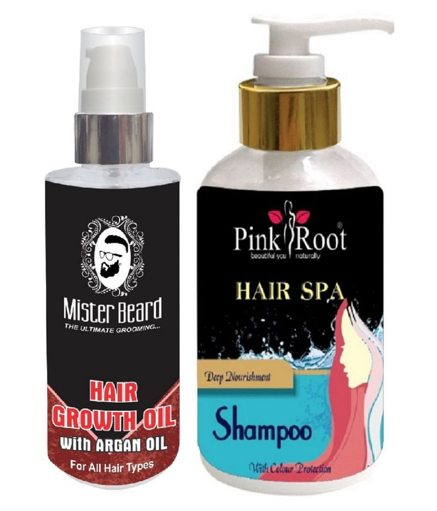 MISTER BEARD Hair Regrowth Argan Oil With Pink Root Hair Spa Shampoo 200 ml  Pack of 2
