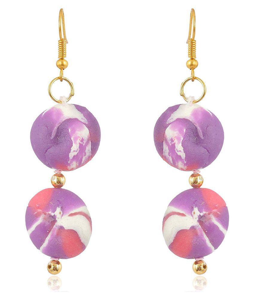 Unique Indian Crafts Purple Porcelain Dangle and Drop Earrings for Women