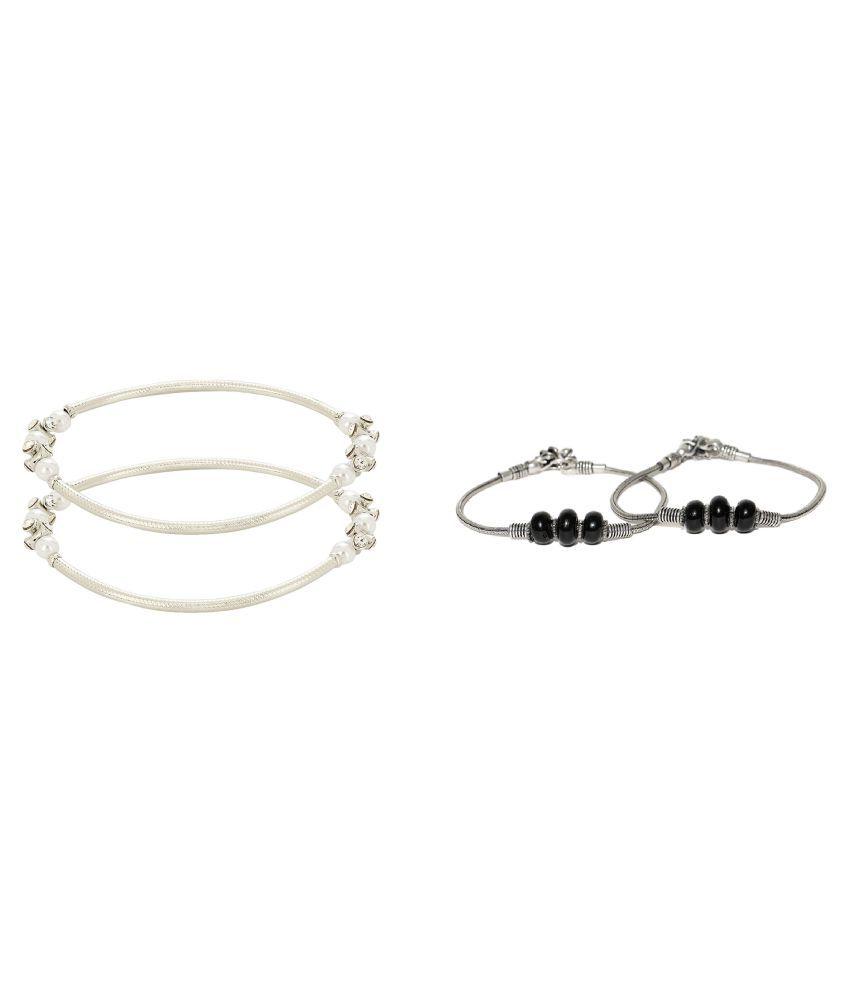 PRITA Designer Germen Silver And Fashion Anklet For Women & Girls (2 Pairs)