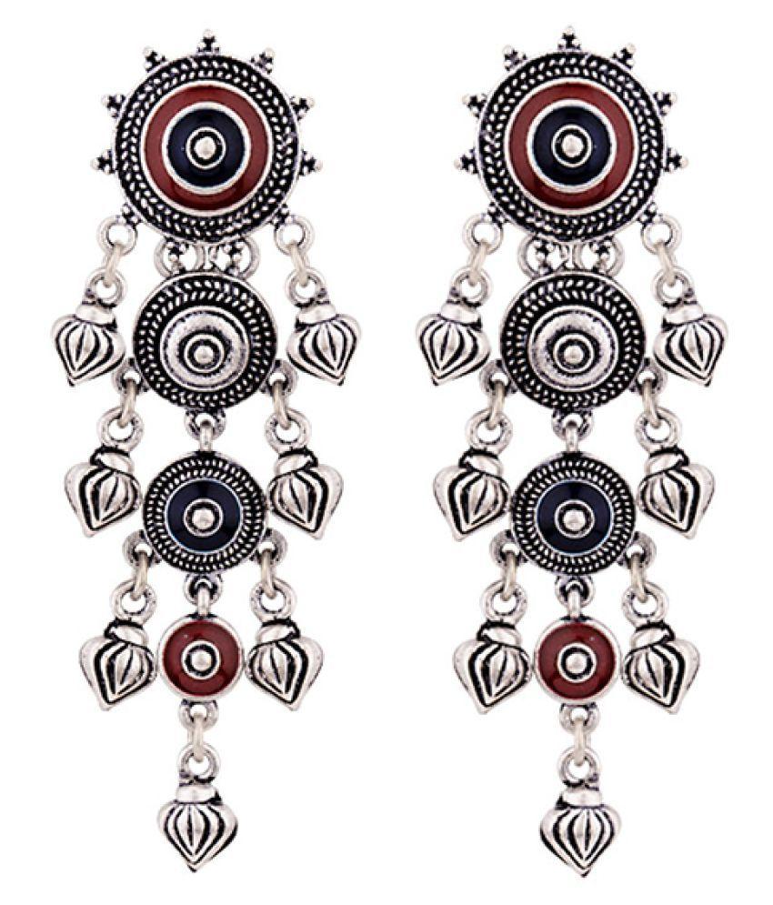 Voylla Mandala Layered Drop Earrings