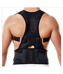 Euros Black Posture Back Support Brace For Neck Back Pain Relief For Men & Women Back Support Size S